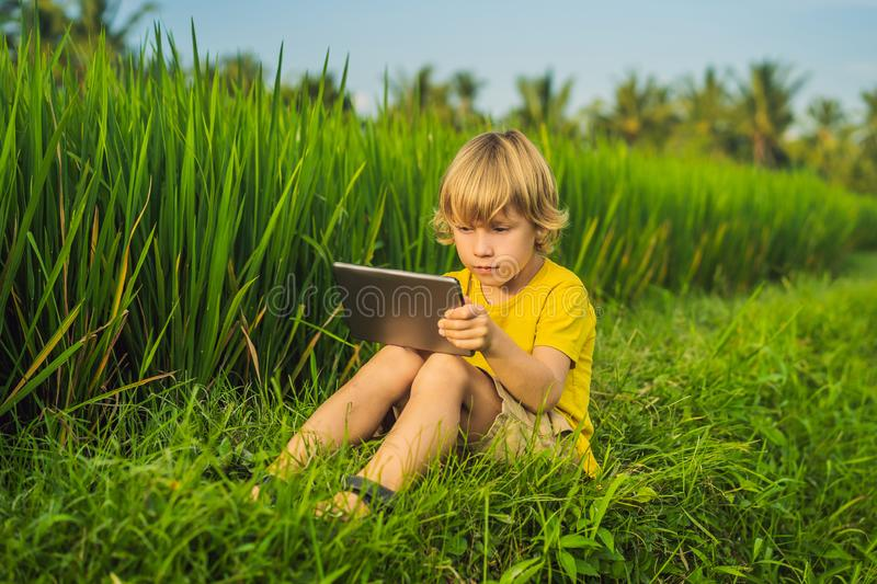 Happy child sitting on the field holding tablet. Boy sitting on the grass on sunny day. Home schooling or playing a. Tablet stock photo