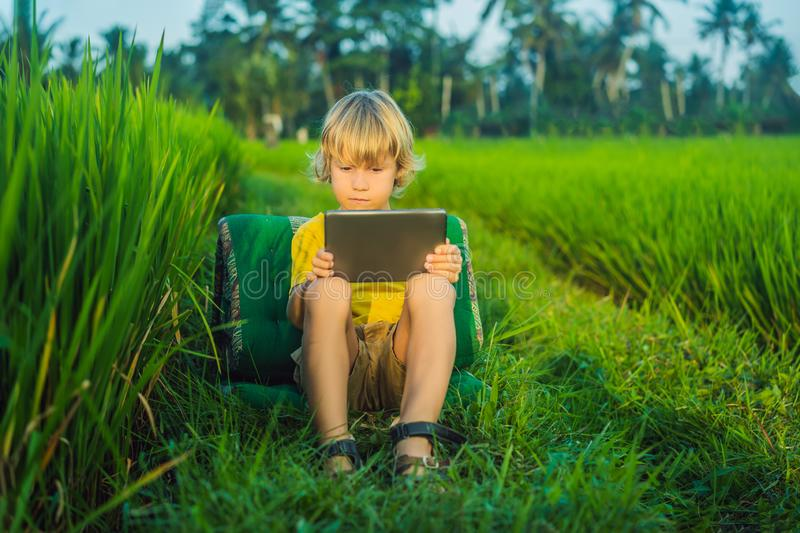 Happy child sitting on the field holding tablet. Boy sitting on the grass on sunny day. Home schooling or playing a. Tablet royalty free stock images