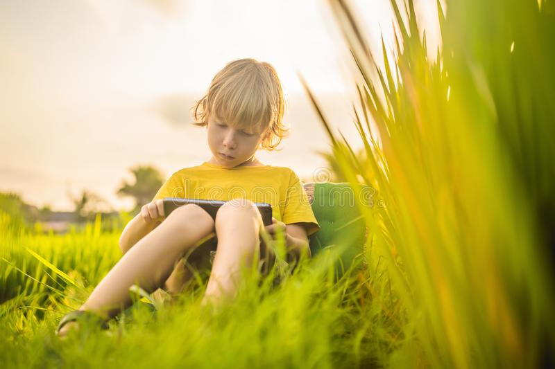 Happy child sitting on the field holding tablet. Boy sitting on the grass on sunny day. Home schooling or playing a. Tablet stock photos