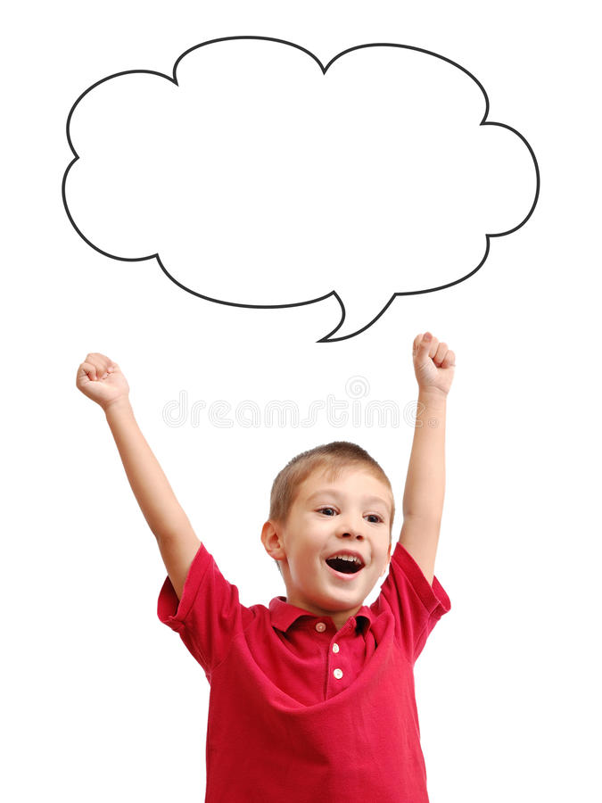 Happy child and speech bubble. Isolated on white background stock images