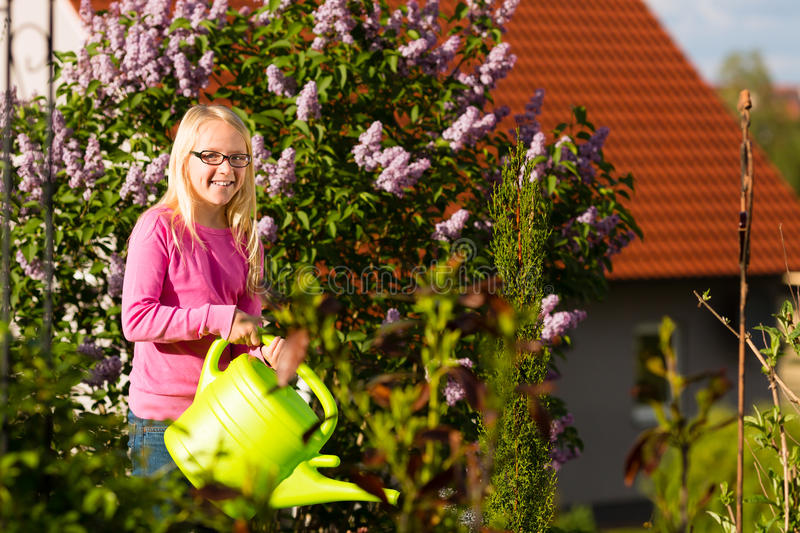 Happy child watering flowers in the garden. In front of her home royalty free stock image