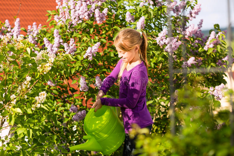 Download Happy Child Watering Flowers In  The Garden Stock Image - Image: 26869087