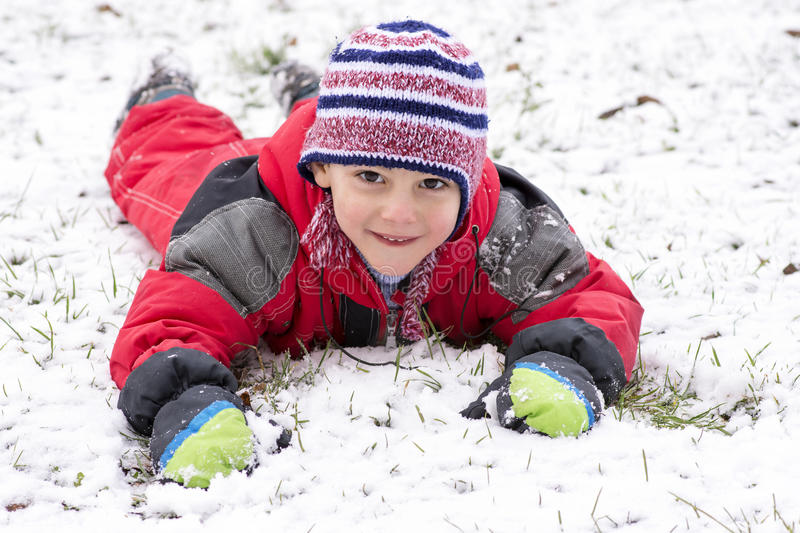Happy child in winter stock photo