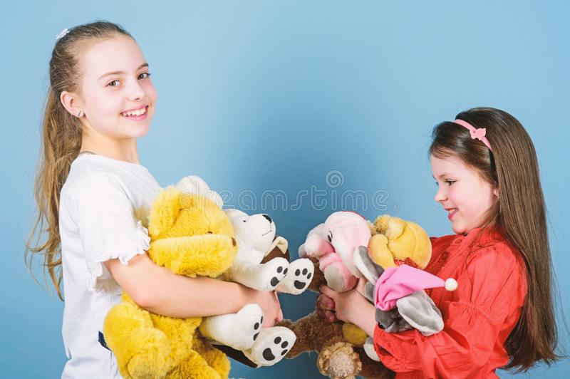 Happy childhood. Child care. Sisters best friends play. Sweet childhood. Childhood concept. Softness and tenderness stock photo