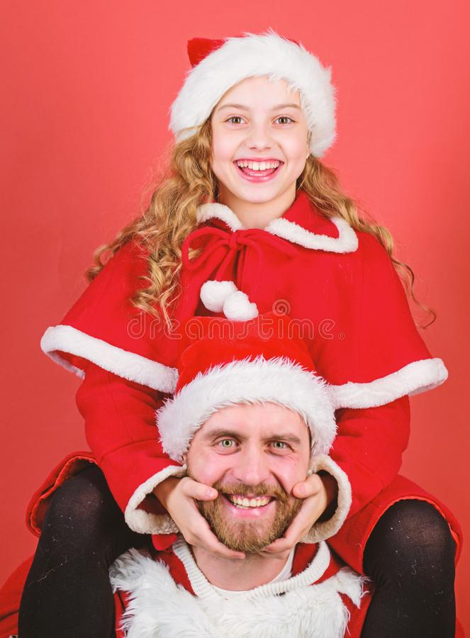 Happy childhood. Christmas family holiday. Father christmas concept. Make holiday extra special. Celebrate christmas stock image