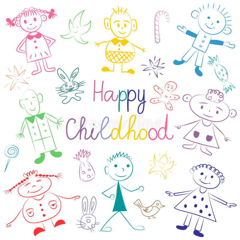 Happy Childhood. Colorful Cute Kids with Toys, Stars and Candies. Funny Children Drawings. Sketch Style. Vector Illustration stock illustration