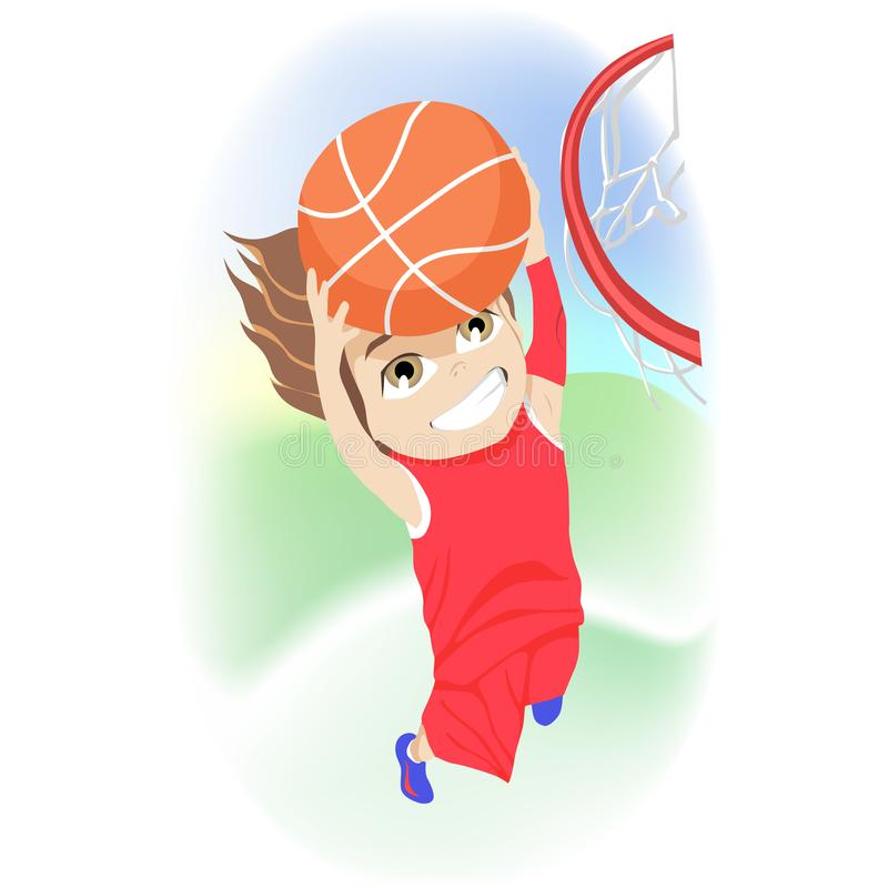 Happy childhood concept. Competitive young boy playing basketball leaping for the net to score a goal during his summer. Vacation in a colorful cartoon vector stock illustration