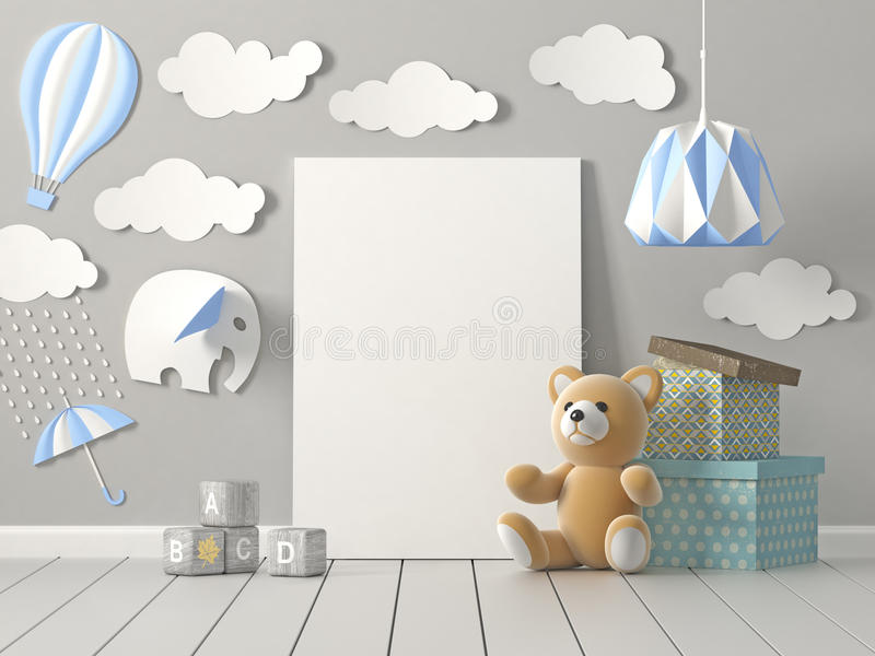 Happy Childhood, 3D rendering. stock photo
