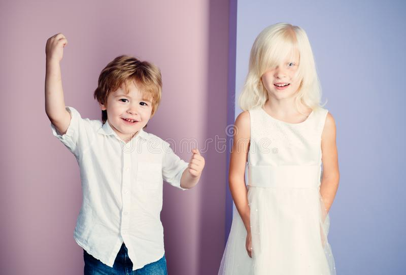 Happy childhood. International childrens day. Boy and girl cute friends. Friendship and love. Lovely tender children royalty free stock photography