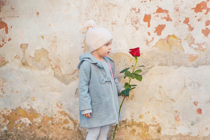 Happy childhood. retro fashion. happy birthday. wedding. little girl in vintage coat. Beauty. love present. childrens. Day. valentines day. romantic date royalty free stock images