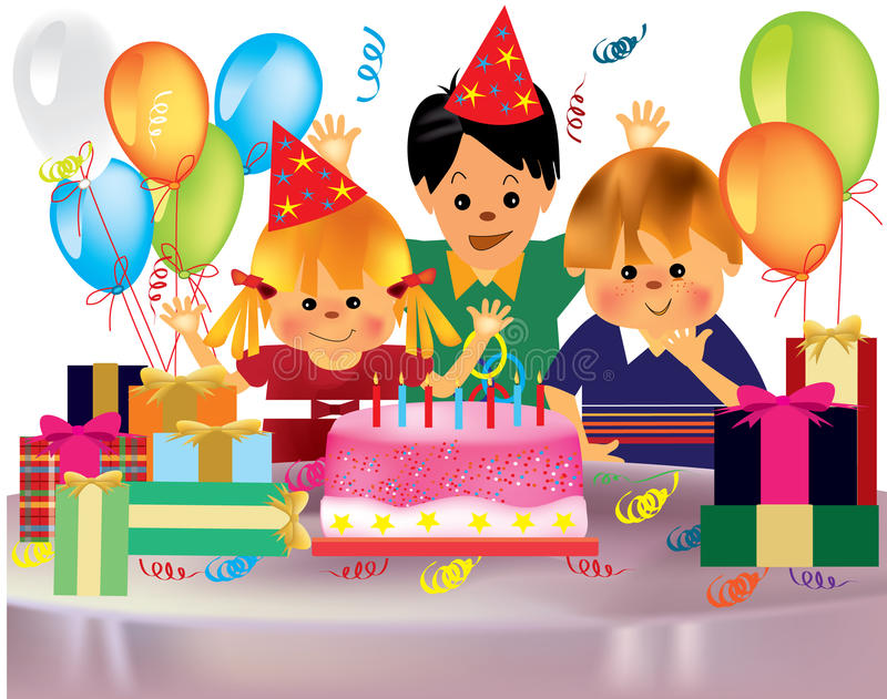 Happy children's birthday party stock photography