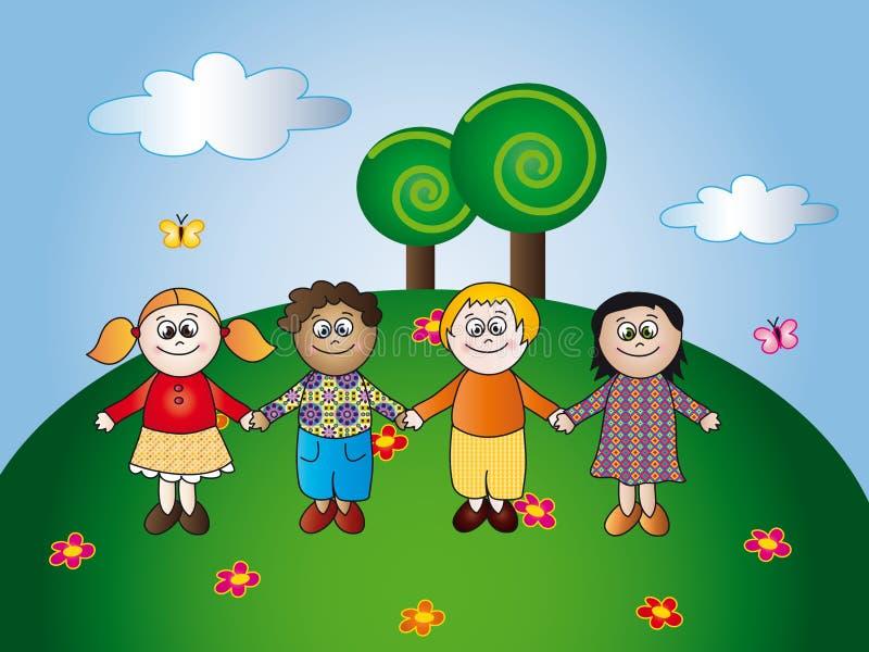 Download Happy children stock illustration. Image of nice, landscape - 10577919