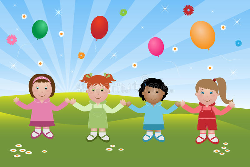 Download Happy children stock vector. Image of girls, female, friendship - 13653486