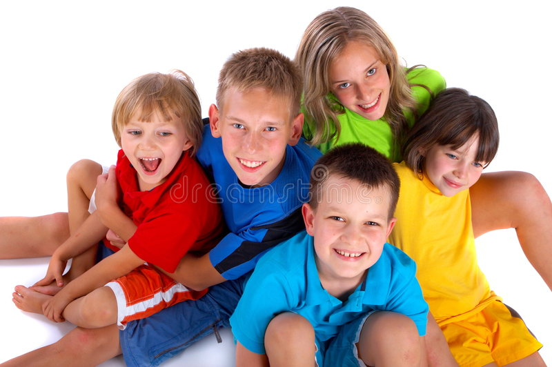 Happy children. A group of children sit together happily