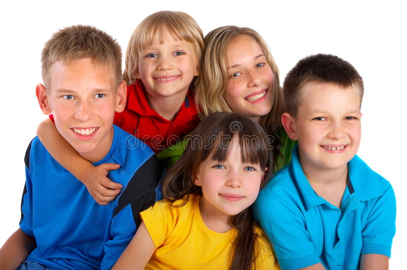 Happy Children. A group of happy children in bright colorful shirts isolated on a white background