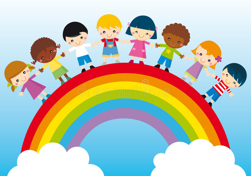 Happy children. Illustration of kids and rainbow, symbol of peace