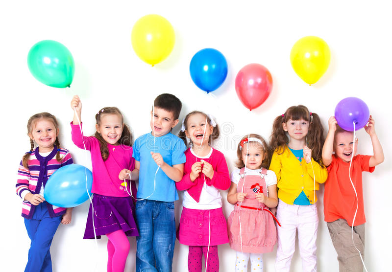 Happy children with balloons stock photography
