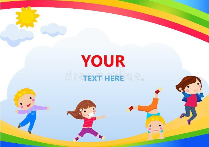 Happy children and banner stock illustration