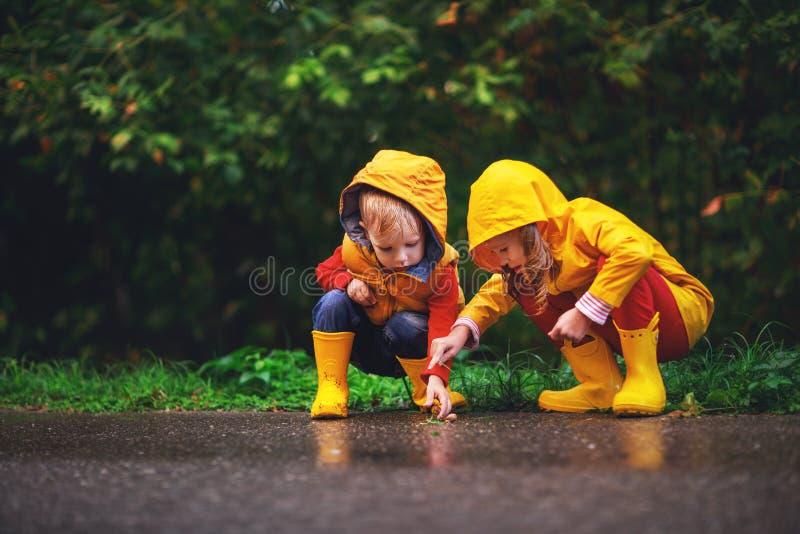 Happy children boy and girl on autumn walk royalty free stock photo