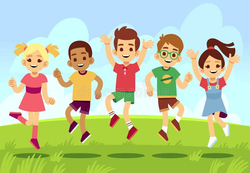 Happy children, boys and girls playing and jumping outdoor. Summer vacation vector concept with cartoon exercising and royalty free illustration