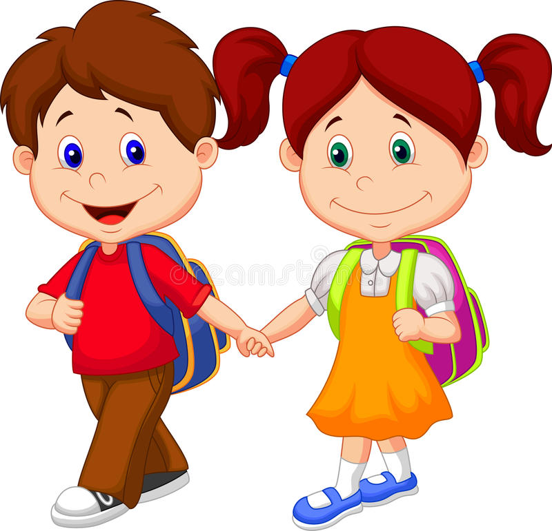 Happy children cartoon come with backpacks vector illustration
