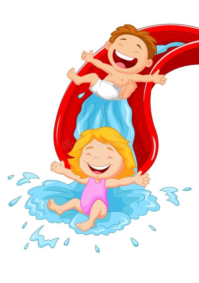 Happy Children Cartoon On Water Slide Stock Vector ...