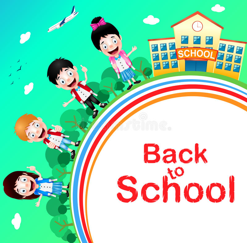 Happy Children Characters with School Building and Airplane vector illustration