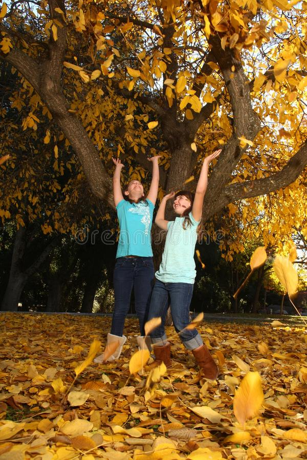 Happy Children With Colorful Fall Leaves Outdoors stock photo