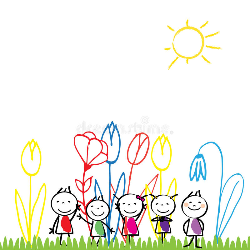Happy children and colorful nature. Small and happy children are playing outside royalty free illustration