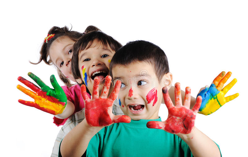 Download Happy children with colors stock image. Image of line - 12992151