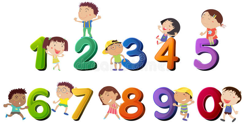 Happy children counting numbers royalty free illustration