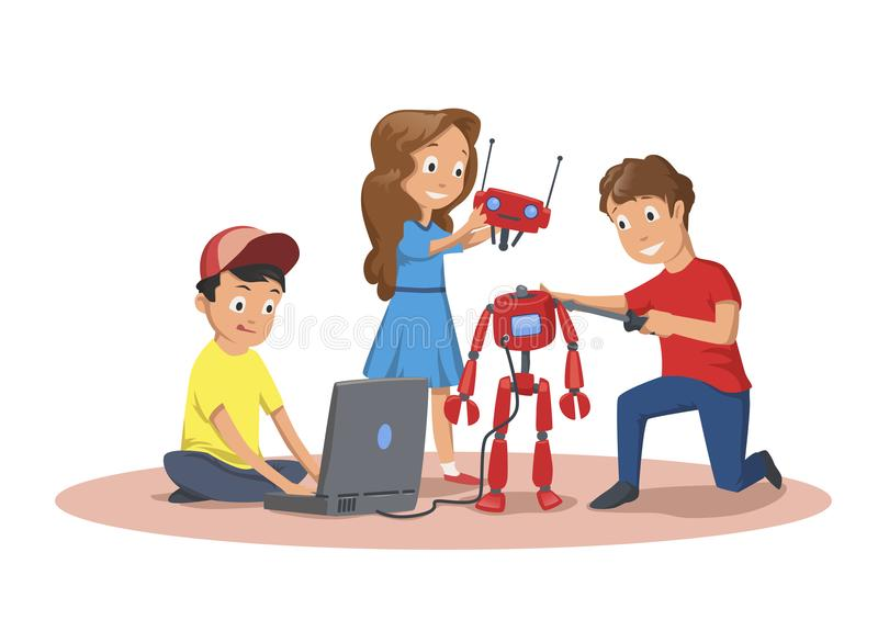 Happy children creating and programming a robot. Children`s club of robotics. Cartoon vector illustration isolated on royalty free illustration