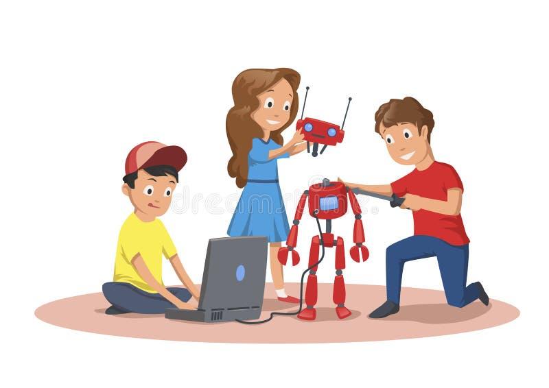 Happy children creating and programming a robot. Children`s club of robotics. Cartoon vector illustration isolated on. Happy children creating and programming a royalty free illustration