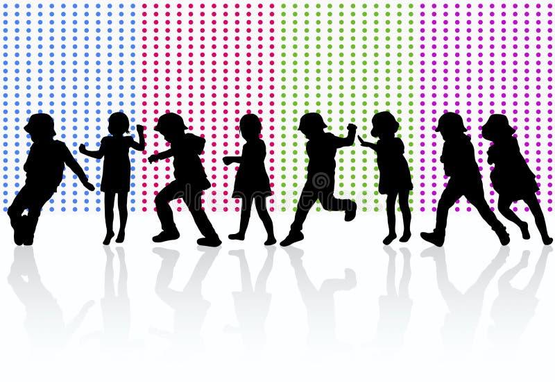 Happy children dancing together. Color vector illustration
