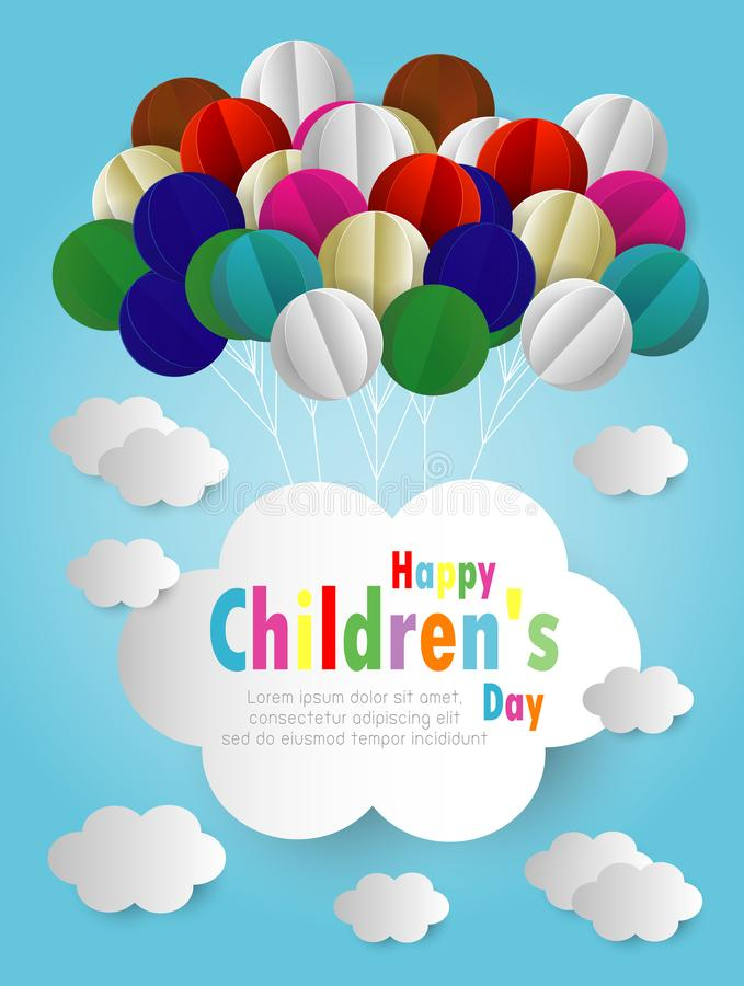 Happy children day background. Origami made of Balloons and cloud in the air, paper art design and craft style. illustration vector illustration
