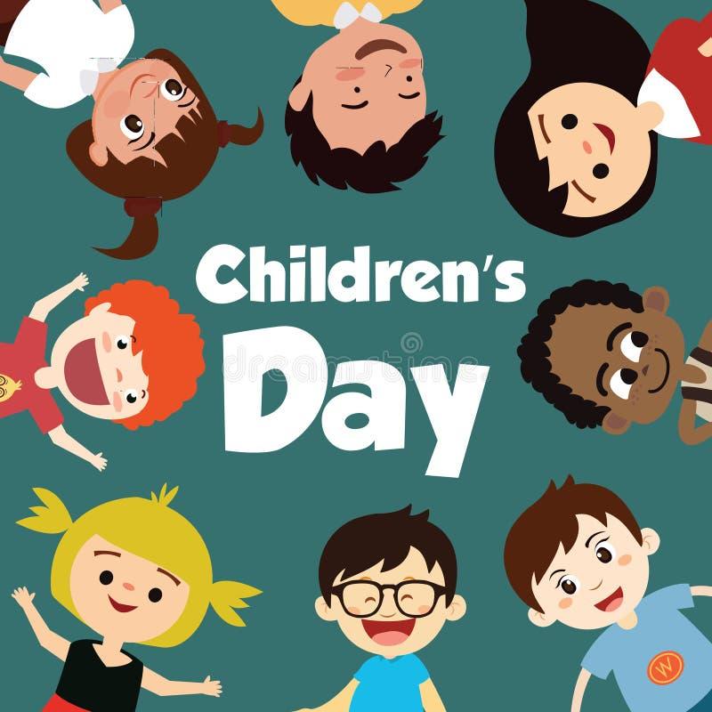 Happy children day background. Vector illustration of Universal Children day poster. Greeting card. Flat. Round frame. - Vector stock illustration