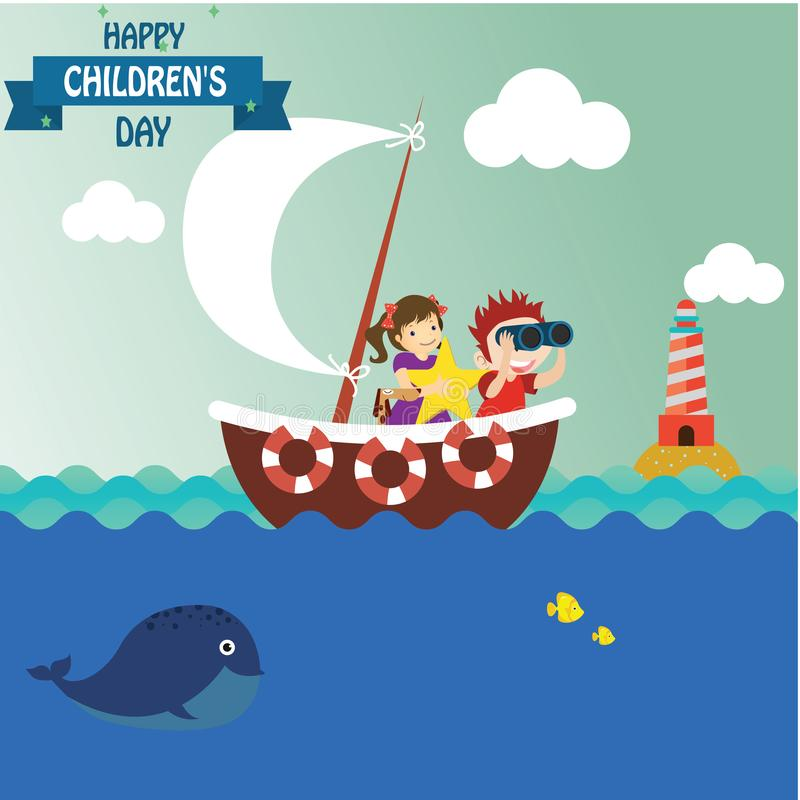 Happy children day background. Vector illustration of Universal Children day poster. Greeting card. Flat. Round frame. - Vector stock illustration