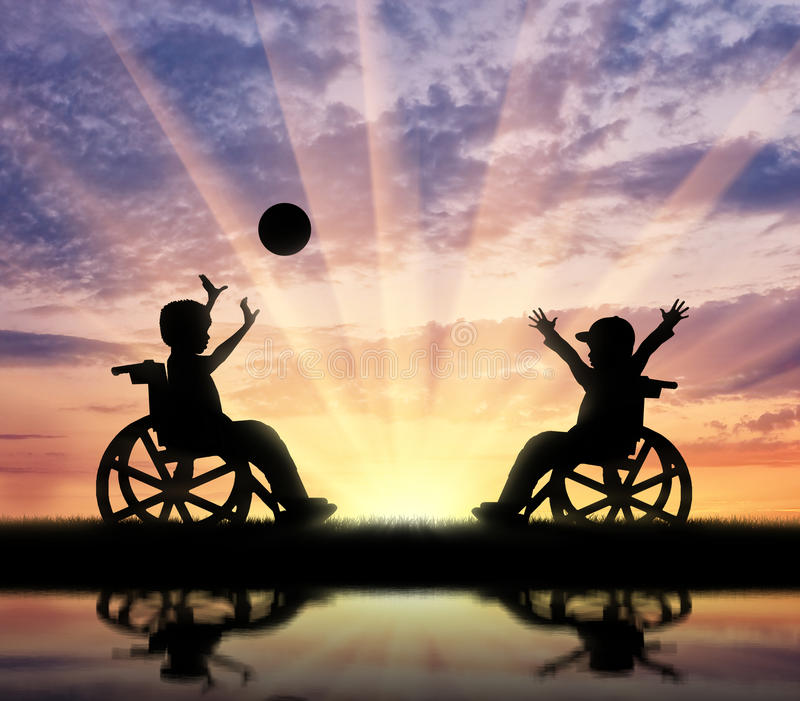 Happy children with disabilities play ball and reflection in river. Concept happy children disabilities stock photo