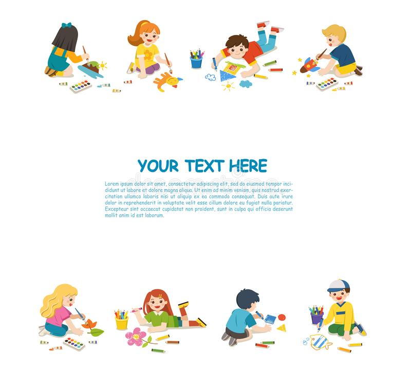 Happy Children draw pictures and paints on floor. stock illustration