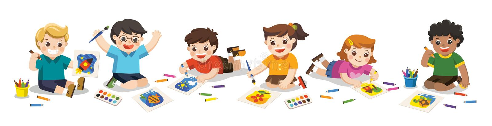 Happy Children draw pictures pencils and paints on floor. stock illustration