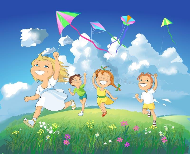 Download Happy Children Flying Kites. Stock Illustration - Image: 15122283
