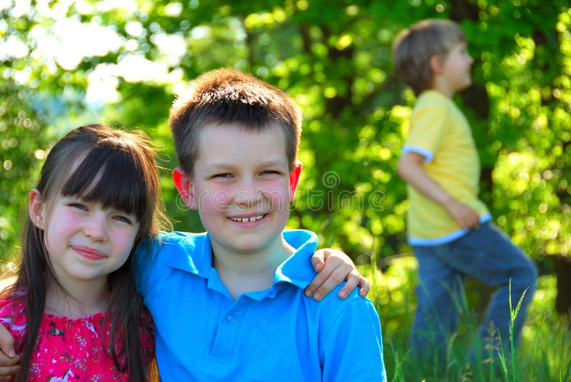 happy children in the forest stock images