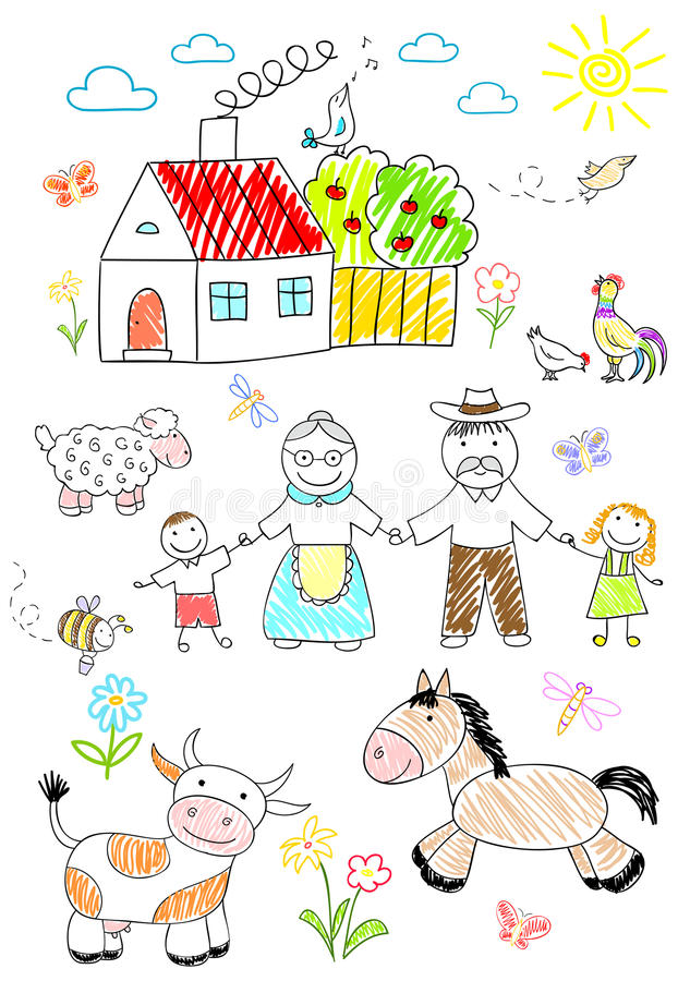 Happy children with grandparents royalty free illustration