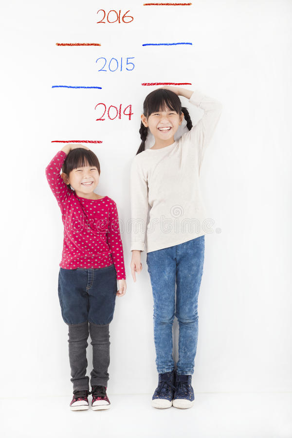 Free Happy Children Growing Up And Against The Wall Royalty Free Stock Image - 35771466