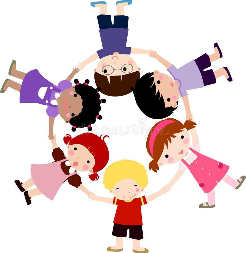 Happy children hand in hand around vector illustration