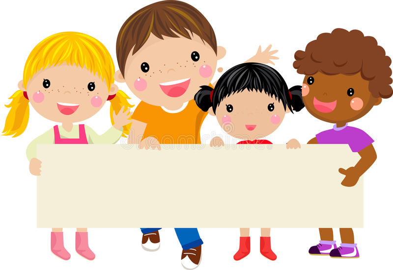 Happy children holding a banner stock illustration