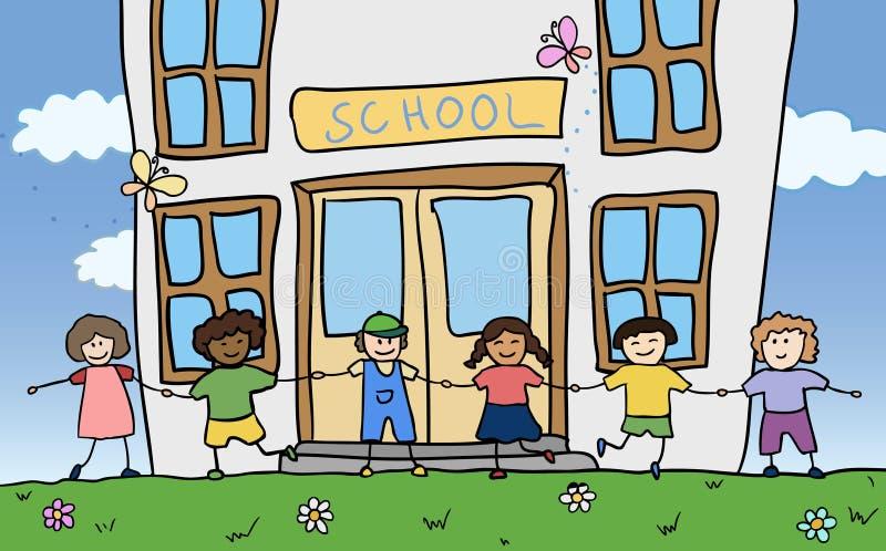 Download Happy Children Holding For Hands Near School Stock Vector - Image: 20925914