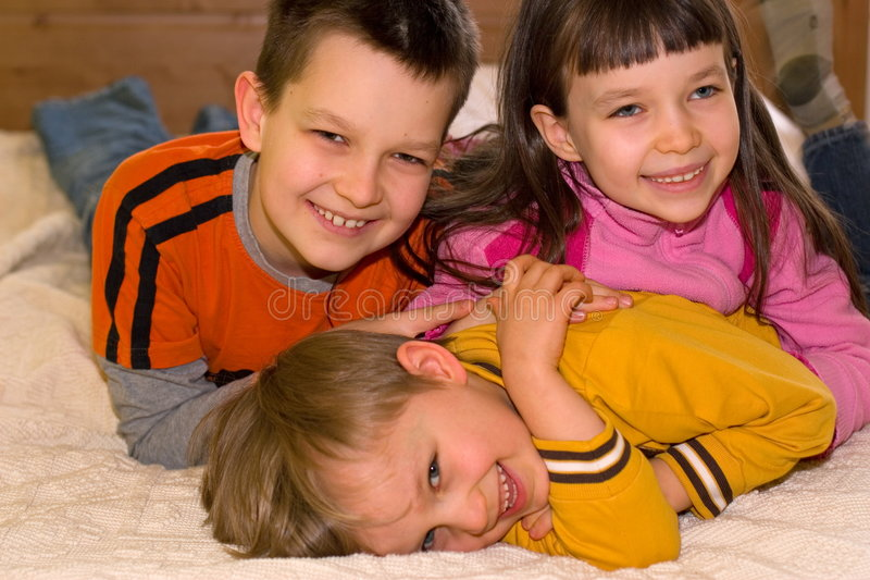 Happy Children At Home stock image