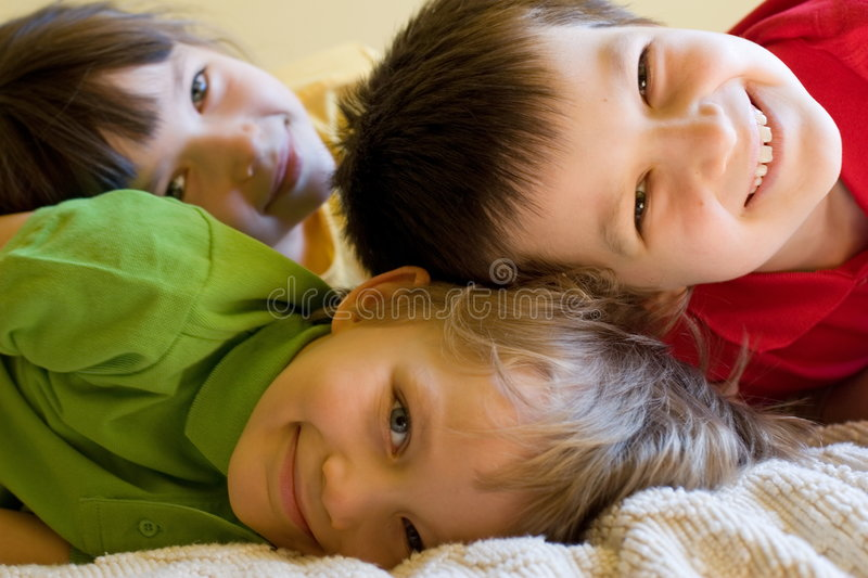 Happy children at home royalty free stock image