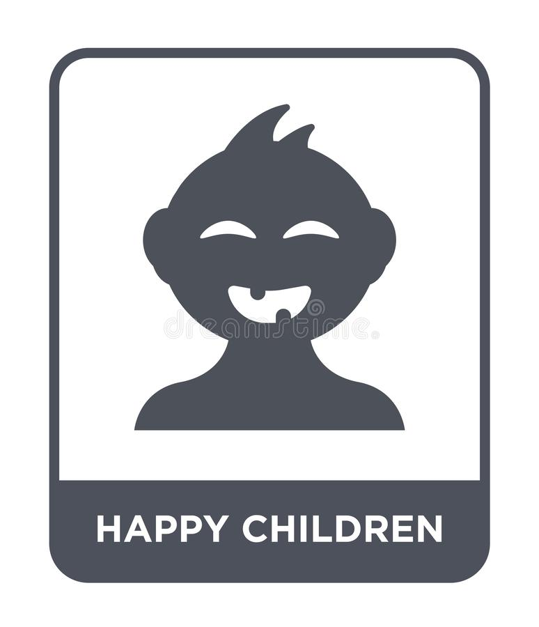 Happy children icon in trendy design style. happy children icon isolated on white background. happy children vector icon simple. And modern flat symbol for web royalty free illustration